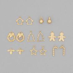 Christmas Charm Collection: Gold Plated Brass Charms In 8 Styles (16Pcs) | JewelleryMaker.com
