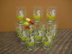 vintage Federal Glass juice glasses - 12pc set - duck - ducklings - yellow - breakfast - Easter - Spring - kitchen decor on Etsy, $68.00