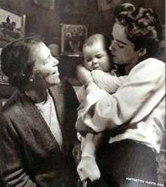 "The Grand Duchess Olga Alexandrovna Romanova of Russia with her daughter-in-law,Ruth and her first grandchild,Xenia. ""AL"""