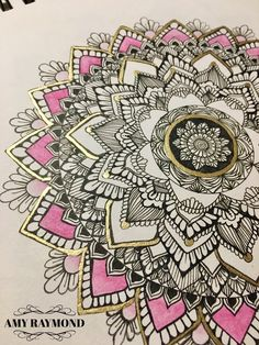 #mandala #sketch 3/21/17 by Amy Raymond #pigma #doodle #inkart #mixedmedia #art #artismytherapist #zen #draw #zentangle #henna #doodleadaymarch #staedler #fineliner #watercolor #gold