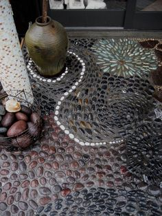 Pebble Mosaic...this would be so dope at your front door, or in your back yard garden!