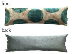 Double Face Handwoven Blue Dot Pattern Silk Velvet and Silver Gray color Silk Ikat Pillow Cover - Eco-Friendly, Natural and Unique