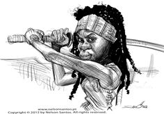 Walking Dead Michonne caricature sketch by nelsonsantos.deviantart.com