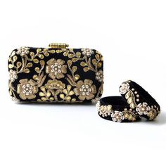Complete your attire with this uber glamorous and stunning clutch. The delicate hand karigari of gota patti coupled with zardosi and perfectly placed moti makes this clutch eye catcher of every party. You can even couple it with our head turning gota patti zardosi bangles giving you all the reasons for that big smile! A perfect finishing accessory for your attire smile emoticon