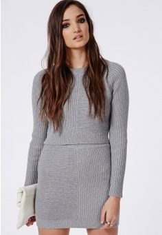 Ribbed Knitted Cropped Sweater Grey