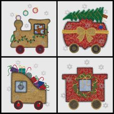 Christmas Train applique machine embroidery by VStitchDesigns