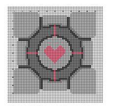 Companion cube x-stitch pattern (with DMC color chart)