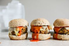 Buffalo Style Quinoa Sliders with Sweet Corn & Scallions