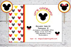 Mickey And Minnie Mouse Birthday Invitation And Cupcake Rounds   Print-It-Yourself   Digital Download   Printable   Custom Invitation by CreateCapture on Etsy