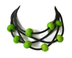 bright green avant garde necklace, rubber jewelry, modern felt jewellery, statement necklace, black and green, long single strand, $45.00