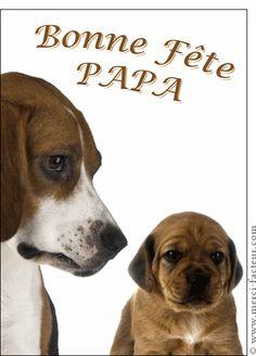 Carte Deux petits chiens pour papa pour envoyer par La Poste, sur Merci-Facteur !