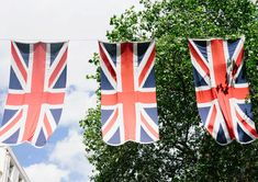 Red, white, and blue bunting for a wedding viewing party to celebrate Prince Harry and Meghan Markle.