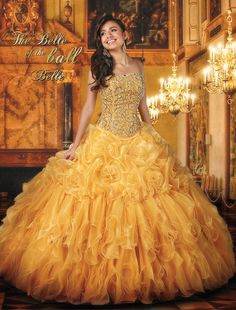 Disney Royal Ball | Quinceanera Dresses | Quinceanera Dresses by Disney Royal Ball - BELLE - With its Versailles-inspired beadwork and sophisticated silhouette, this hand-rolled floral ball gown pays tribute to Belle's elegance, intelligence and beauty.