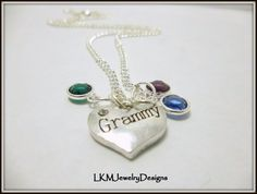 Beautiful Grammy Birthstone Heart Necklace, great for Mothers day!