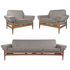 Stunning Mid-Century Sofa and Lounge Chairs by Johannes Andersen for Trensum | From a unique collection of antique and modern living room sets at https://www.1stdibs.com/furniture/seating/living-room-sets/