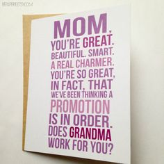 New Grandma Card / First Time Grandma / Family Baby Announcement / Pregnancy Reveal Card