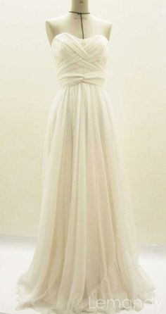 strapless soft neckline A line soft chiffon wedding dresss. $255.00, via Etsy.  I love this dress.