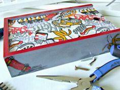 pudełko decoupage z motywem samochodu i deskorolki - prezent dla chłopca Decoupage