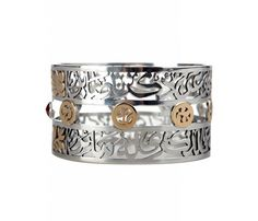 Linked altogether with semi-precious stones and floral motifs , this Masterpiece bangle in Sterling Silver and 18ct Gold is adorned with verses of poetry by Amr Ibn Abi Rabeea - the poet of love- Jahily poetry. The design brings out the balance and beauty of Arabic calligraphy. #azzafahmy #jewellery #jewelery