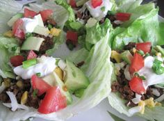 Luscious Low Carb: Mexican Lettuce Wraps - all veggies without tortillas means for our plan the meal has no carbs.
