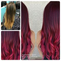 Before and after burgundy ombré done by Samantha Tarini