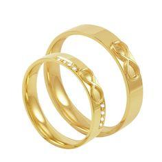 Par de Alianças em Ouro 18K Infinito com Diamantes - AU3316   Bruna Tessaro Joias - brunatessaro