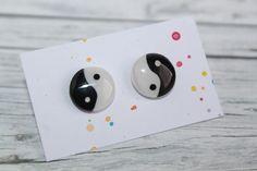Black Stud Earrings, Yin Yang, Etsy Seller, Creative, Unique, Design