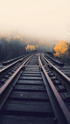 Train Tracks In Fog iPhone 5 Wallpaper