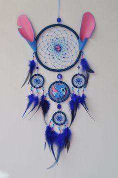 Lilo and Stitch Fan Gift - Blue Dream Catcher Wall Hanging - Birthday Gift - Baby Nursery Children Kids Room Decor