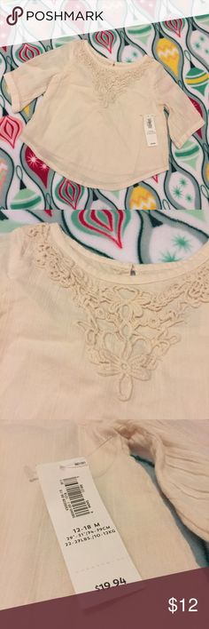 Cream Detailed Tunic Precious shirt with embroidery (?) on the top. Old Navy Shirts & Tops Blouses