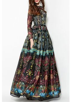 6cd7fc003bb292 Colorful Vintage Print Maxi Voile Dress  Maxi Dresses If this wasn t so  long
