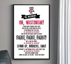 UW FIGHT SONG Poster  University of Wisconsin Badgers by HENANDCO, $22.00