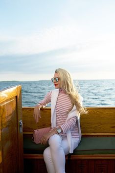 Pink and white striped long sleeve top + white jeans
