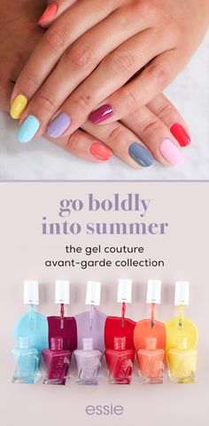 with colors so beautiful and bright, why stick to just one? mix and match shades in the essie gel couture avant-garde collection to create a long-lasting manicure that will be life of the party.