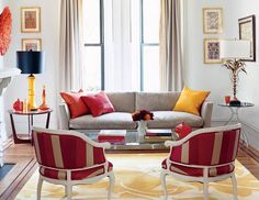 Red and Taupe and Yellow Living room
