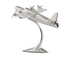 Avion décoratif aluminium, argenté - L30