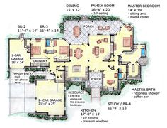 European House Plan 56539 Level One