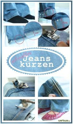 Most recent Pics Maintain the original hem when shortening - Claudia Style I love Jeans ! And much more I like to sew my very own Jeans. Next Jeans Sew Along I am planning t Beginner Knitting Projects, Sewing Projects For Beginners, Knitting For Beginners, Sewing Tutorials, Sewing Tips, Sewing Pants, Sewing Clothes, Diy Clothes, Sewing Patterns Free