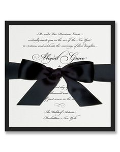 Traditional invite with heavy matte bottom layer, shimmer top layer and a one inch Swiss satin ribbon