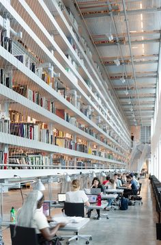 "Wolfgang Tschapeller adds ""floating"" bookshelves to Cornell University library University Architecture, Library Architecture, School Architecture, Art And Architecture, Industrial Architecture, Architecture Interiors, Chief Architect, Architect Design, Climate Engineering"