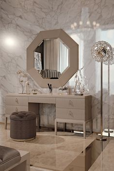 A touch of sophistication and opulence, creating the most striking of outlines; perhaps one of the most recognisable features of Art Deco. Discover the High End 5 Drawer Art Deco Inspired Dressing Table at Juliettes Interiors, Classic Art Deco inspiration meets timeless glamour. To suit both a classic or contemporary interior, the perfect addition in any setting with the versatility to also be used perfectly in an office space as a desk.