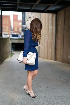 Ali & Jay Navy Long Sleeve Dress, Ali & Jay Dress, Miu Miu Sunglasses, Furla Handbag, Kate Spade Leopard Heels, Chicago Blogger