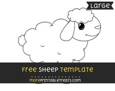 Free Sheep Template - Large Templates Printable Free, Free Printables, Sheep Template, Large Animals, Baby Shower Printables, Project Yourself, Baby Theme, Baby Showers, Projects