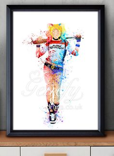 Suicide Squad Harley Quinn Watercolor Poster Print by GenefyPrints