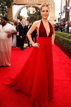 2777dc0155 It was all about two-toned floor lenth dresses at the Globes on Monday.