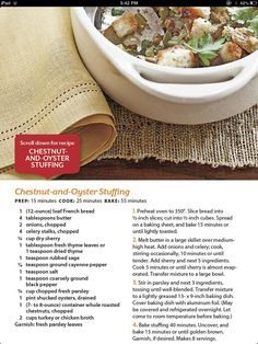 Chestnut and oyster stuffing