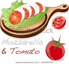 Vector illustration of mozzarella, cherry tomatoes - ingredients for caprese salad on plate.