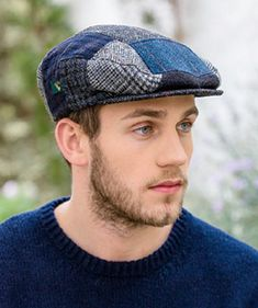 New for Fall - Irish Blue Tweed Patchwork Cap, made in Ireland