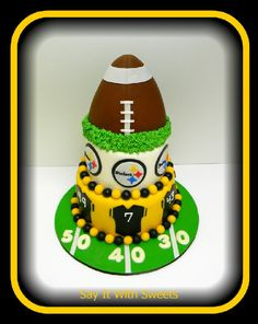Steelers Football Birthday Cake....would have to change it to BROWNS!!!!!!!