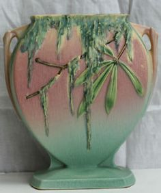 Roseville moss pillow vase